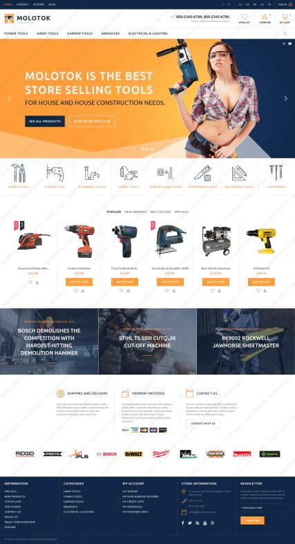 "Шаблон магазина инструментов для PrestaShop ""Molotok - Power Tools"""